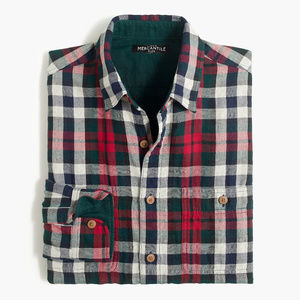 J. Crew Slim Double-Layer Plaid Slim Fit Shirt